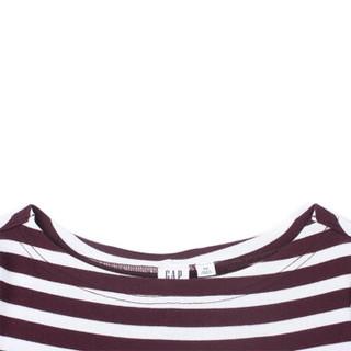 Gap 盖璞 船领七分袖连衣裙357843 秋装通勤条纹内搭裙子女 紫红条纹 S