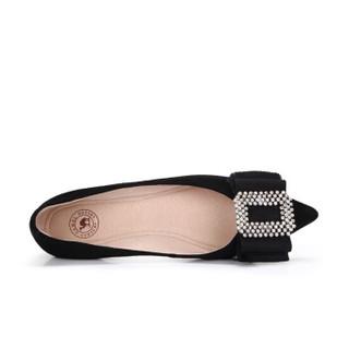 骆驼  A91042643 女士 轻熟温婉水钻尖头浅口单鞋 A91042643 黑色 34