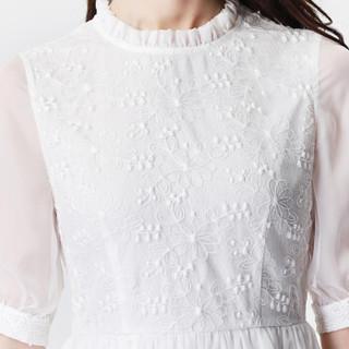 丝柏舍2019年春季新款女装韩版圆领五分袖时尚简约蕾丝气质纯色连衣裙 S81R0897LA7M 白色 M
