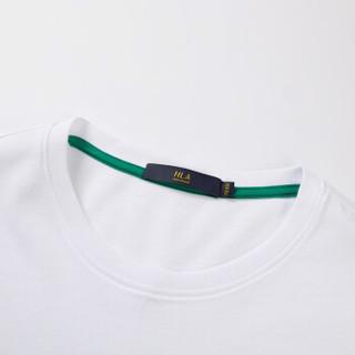 HLA海澜之家短袖T恤男2019夏季新品简约胸袋款舒适圆领短THNTBJ2R121A米白(C1)180/96A(52)
