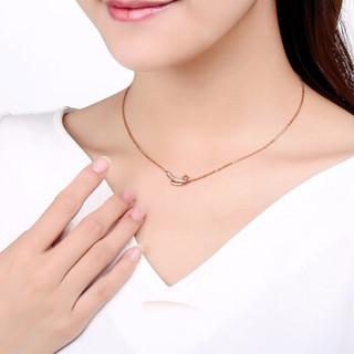 鸣钻国际 ZSDZ102 18K玫瑰金钻石项链套链锁骨链女 6分 无色钻石
