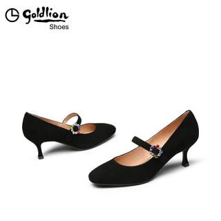 goldlion 金利来 女士圆头细高跟浅口玛丽珍单鞋62091008001P-黑色-37码