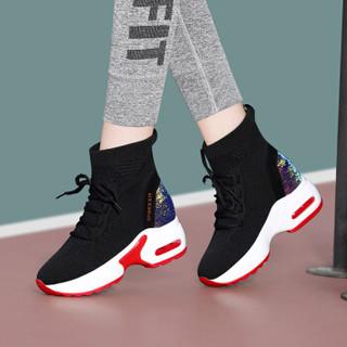centenary 百年纪念 韩版时尚圆头平跟短靴前系带内增高防水台女鞋子 1825-1 红色 38
