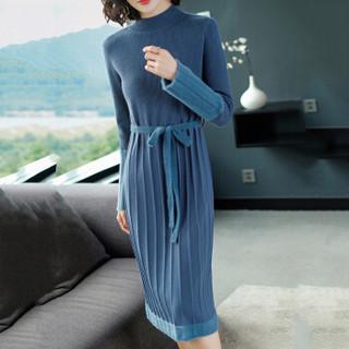 尚格帛 冬季新品女装拼接针织连衣裙 系带中长款A字裙时尚半高领毛衣裙 LLYQ349-8873GB 杏色 XL