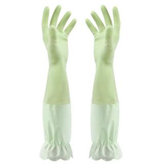 乐宜美家务清洁手套中号 加长型洗碗洗衣手套光里 加厚橡胶手套2双装(粉色+绿色)