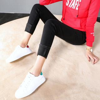 尚格帛 2018冬季新品女装牛仔裤小脚加绒高腰修身显瘦铅笔裤 CCHS-11091GB 黑色 31