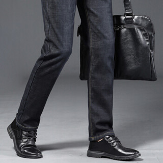 卡帝乐鳄鱼(CARTELO)牛仔裤  男士潮流休闲百搭加绒加厚保暖牛仔长裤021黑色33