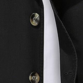 卡帝乐鳄鱼(CARTELO)风衣 男士潮流纯色翻领中长款风衣外套QT4000-5793黑色XL