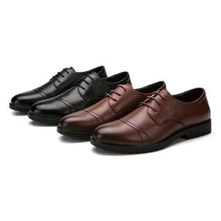 CAMEL 骆驼 男鞋商务休闲头层牛皮时尚简约系带 W912283150 黄棕 40/250码