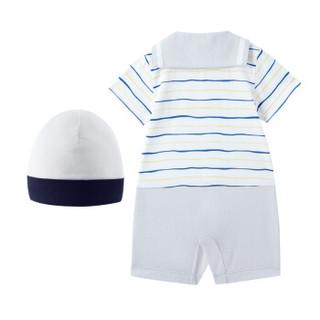 全棉时代 婴儿针织海军领短袖连体衣+帽子80/48(建议12-18个月)灰色波浪  2件装