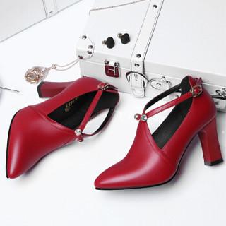 centenary 百年纪念 欧洲女士百搭一字扣尖头粗跟低帮单鞋 1365 酒红色 40