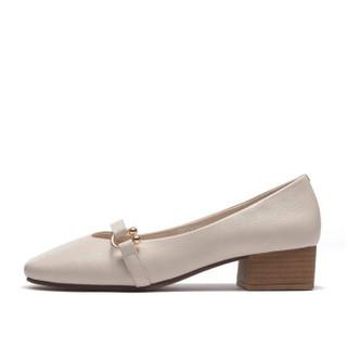 Fuguiniao 富贵鸟 粗跟女士单鞋方头复古时尚舒适套脚F853005C 米白 39