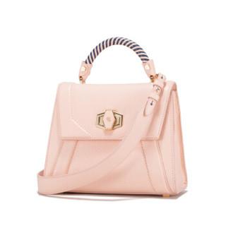 PLD 头层牛皮编织手提包新款时尚单肩斜挎小方包女WA8F024M11粉色