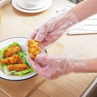 香柚小镇 加厚一次性手套餐饮美发手膜食品吃龙虾透明塑料PE薄膜手套透明套 100只装