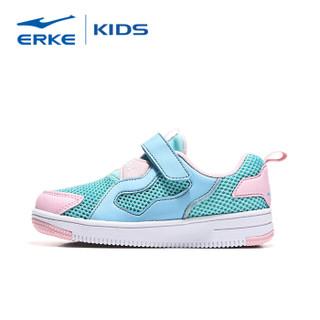 鸿星尔克(ERKE)女童鞋休闲鞋儿童运动鞋小童女鞋魔术贴慢跑鞋 64119101074 薄荷蓝/粉红 27码