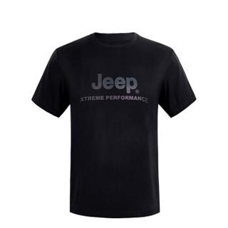 JEEP 吉普 吉普户外圆领运动短袖男士新款T恤 J822094571 黑 L