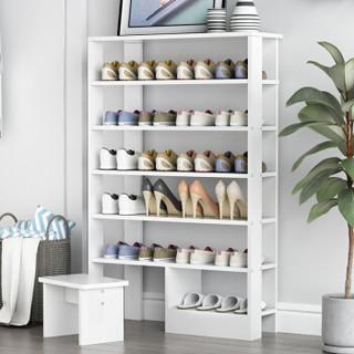 香可 简约现代 多层鞋架 家用鞋架鞋柜 经济型收纳架子七层 白色
