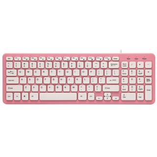 飞遁(LESAILES)超薄樱桃粉色有线静音键盘 笔记本电脑办公游戏外设