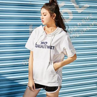 仙丫 2019春季新款女装新品卫衣女宽松大码短袖T恤韩版百搭半袖上衣连帽打底衫 MMYK11 Y13款-白色 XL