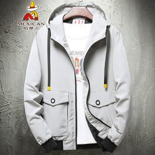 稻草人(MEXICAN)夹克男潮男时尚设计风短款外套个性绣花连帽夹克衫 J1908 豆灰 XL