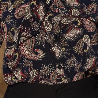 奥豚 AOTUN 时尚妈妈装春装两件套装中年中老年人女装长袖40-50岁宽松上衣GLR-8706 黑色+黑裤 3XL