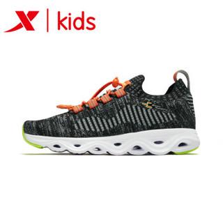 特步童鞋 春季新款男童运动鞋中大童减震旋科技男跑鞋 681115119165 黑桔 36