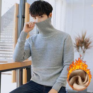 富贵鸟(FUGUINIAO)针织衫男士冬季休闲打底衫男装保暖圆领加绒针织衫 灰色 2XL