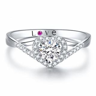 鸣钻国际 心爱 白18k金钻戒女 钻石戒指结婚求婚女戒 情侣对戒女款 共约19分 13号