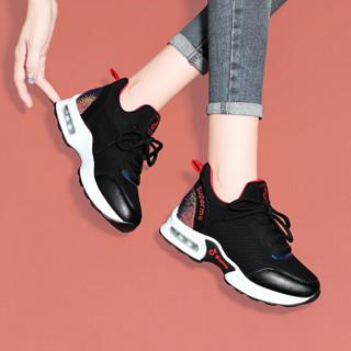 centenary 百年纪念 韩版百搭平跟低帮系带拼色休闲健身房跑步鞋 1850 黑色 39
