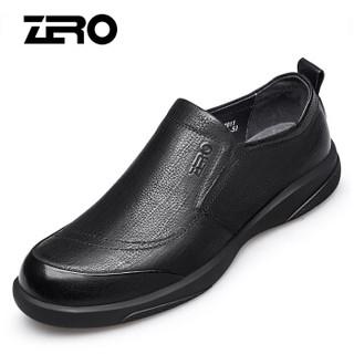 ZERO 男士英伦头层牛皮大头户外工装百搭耐磨商务休闲皮鞋 Z91911 套脚黑色 42码