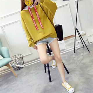 朗悦女装 2019春季新款连帽卫衣女韩版宽松长袖T恤薄外套 LWWY191116 姜黄色 L