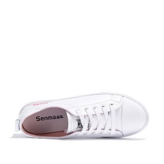 Semir 森马 时尚百搭韩版街拍学生平底简约舒适休闲小白鞋女 129112301 白粉色 37码