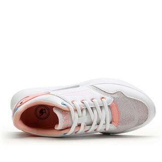 CAMEL 骆驼 女鞋时尚休闲系带撞色透气网面运动跑步 W91304509 白/粉 37/235码