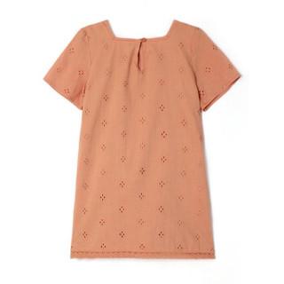 GAP旗舰店 童装幼儿刺绣方领短袖直筒连衣裙 307361 晒伤橙 100cm(3T)