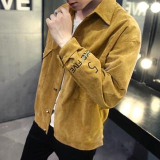 美国苹果 AEMAPE 夹克男2019春装新款灯芯绒外套男士上衣服韩版潮男装上衣工装夹克 卡其色 3XL
