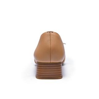 Fuguiniao 富贵鸟 女士单鞋方头通勤浅口粗跟休闲百搭F953301C 土黄 35