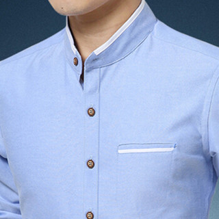 卡帝乐鳄鱼(CARTELO)衬衫 男士潮流时尚休闲百搭立领长袖衬衣A180-2210浅蓝色M