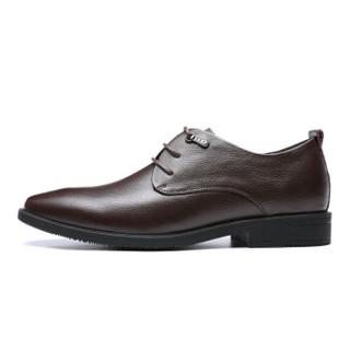 RED DRAGONFLY 红蜻蜓 男士商务正装系带简约舒适皮鞋 WTA87731/32 棕色 41