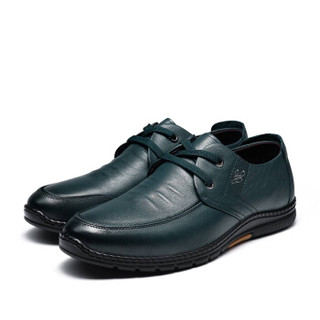 Fuguiniao 富贵鸟 男士时尚休闲鞋头层牛皮系带时尚舒适 S993715  蓝色  40