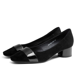 AOKANG 奥康 奥康(Aokang)绸面拼接尖头浅口单鞋18421106537黑色37码