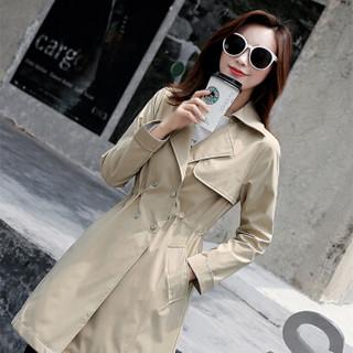 朗悦女装 2019春季新款风衣女韩版休闲中长款薄外套 LWFY191194 卡其色 M