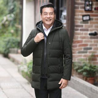 恒源祥羽绒服男 2018冬季新款连帽防寒服中年男士商务休闲保暖外套 咸菜 XL(180/96A)