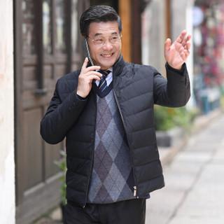 恒源祥羽绒服中老年男装休闲男士加厚2018年冬季新款立领外套 黑色 M(170/88A)