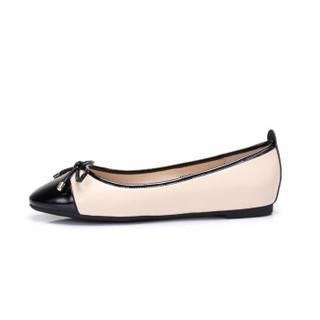 CAMEL 骆驼 休闲系列 女士 知性优雅蝴蝶结套脚平底单鞋 A91875617 黑/杏 35