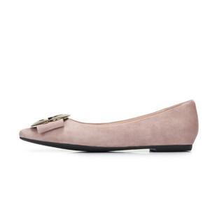 CAMEL 骆驼 女士 知性优雅金属圆头浅口单鞋 A91045610 粉色 36