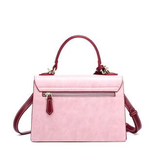 DOODOO 女包单肩包时尚百搭女士包包心形锁扣斜挎包韩版手提风琴包女 D8726粉色