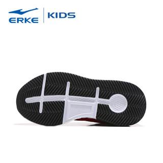 鸿星尔克(ERKE)童鞋男童跑鞋儿童运动鞋中大童舒适绑带慢跑鞋 63119120083 大红/正白 34码