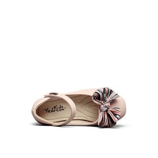 意尔康童鞋女童鞋子2019春季新款甜美公主风蝴蝶结儿童单鞋小皮鞋ECZ9123649 粉色 30
