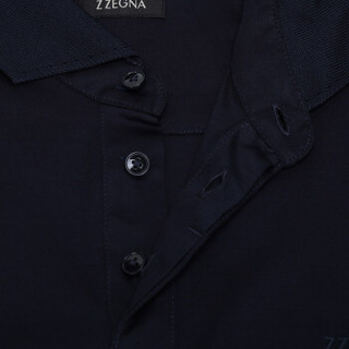 Z ZEGNA 杰尼亚 奢侈品 男士海军蓝棉质长袖POLO衫 VR348 ZZ759 B09 L码