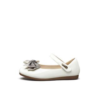 意尔康童鞋2019春季新款女童皮鞋单鞋甜美蝴蝶结学生公主鞋女童鞋ECZ9123650 米白色 32